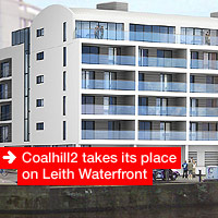 Coalhill2 takes it's place on Leith Waterfront